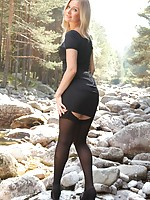 Gorgeous Elle in LBD with black opaque stockings